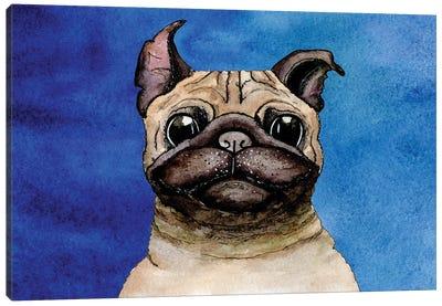 Bulldog On A Blue Background Canvas Art Print