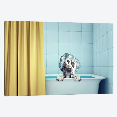 Cute Wet Dog In The Bath Canvas Print #DPT87} by helga1981 Canvas Print