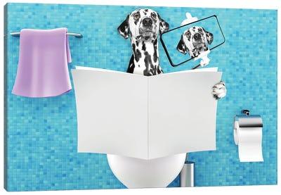 Dog Sitting On A Toilet Seat Reading Canvas Art Print