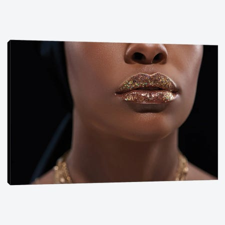Cropped Shot Of African American Woman With Sparkling Lip Gloss Isolated On Black Canvas Print #DPT92} by IgorVetushko Canvas Print