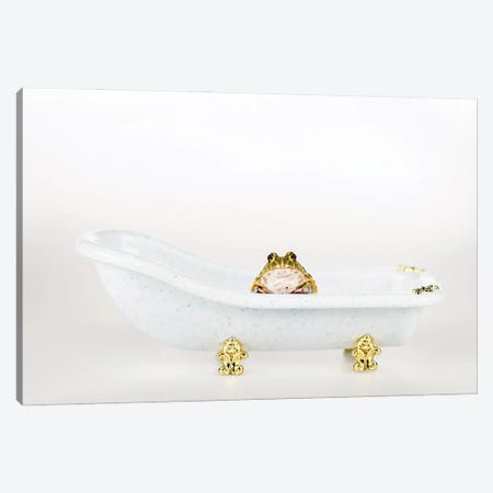 Cute Green Frog In Small Luxury Bathtub Isolated On White Canvas Print #DPT93} by IgorVetushko Canvas Art Print