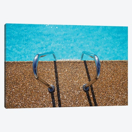 Overhead View Of Inviting Aqua Swimming Pool Steps Canvas Print #DPT96} by jodiejohnson Canvas Wall Art