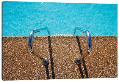 Overhead View Of Inviting Aqua Swimming Pool Steps Canvas Art Print
