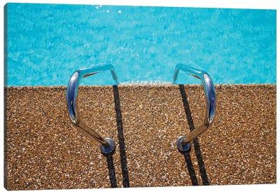 Overhead View Of Inviting Aqua Swimming Pool Steps Canvas Art Print
