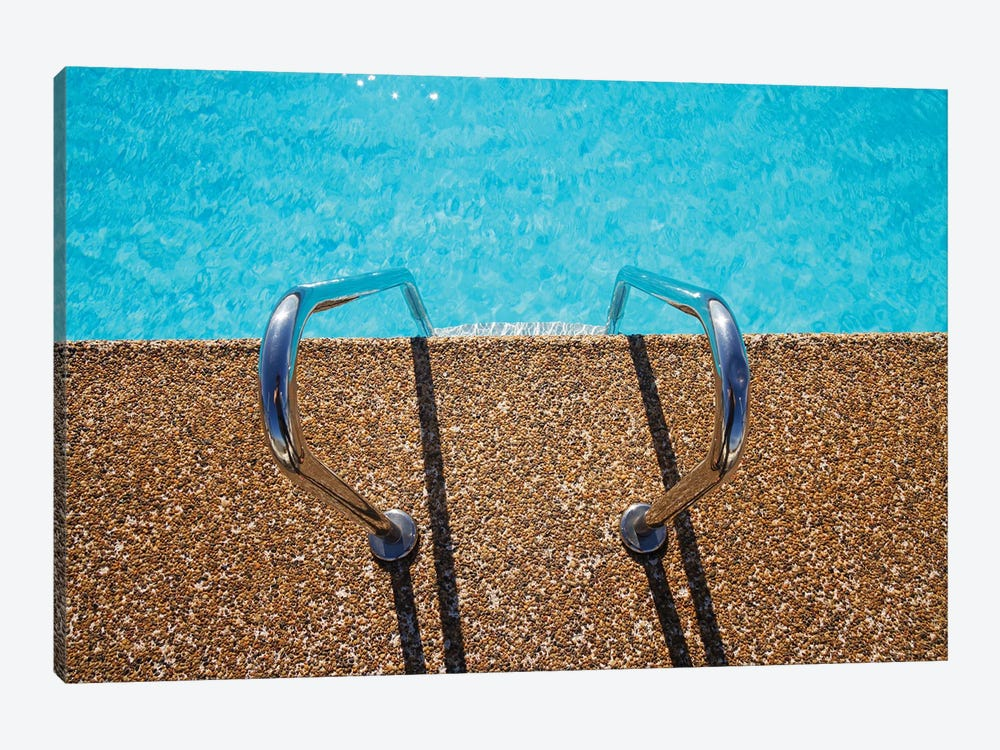 Overhead View Of Inviting Aqua Swimming Pool Steps by jodiejohnson 1-piece Canvas Wall Art