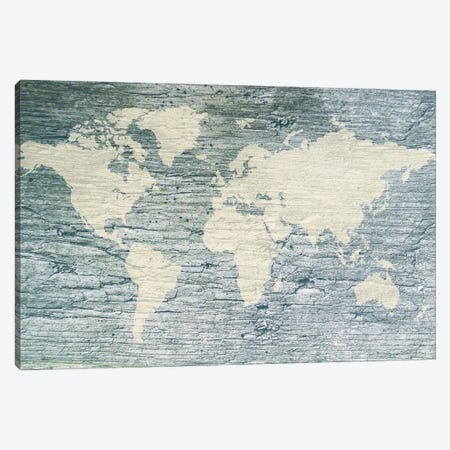Vintage White World Map Flag Canvas Print #DPT9} by Anton Medvedev Canvas Art Print