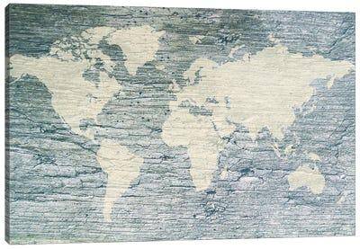 Vintage White World Map Flag Canvas Art Print