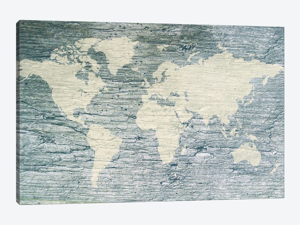Vintage White World Map Flag by Anton Medvedev 1-piece Canvas Print