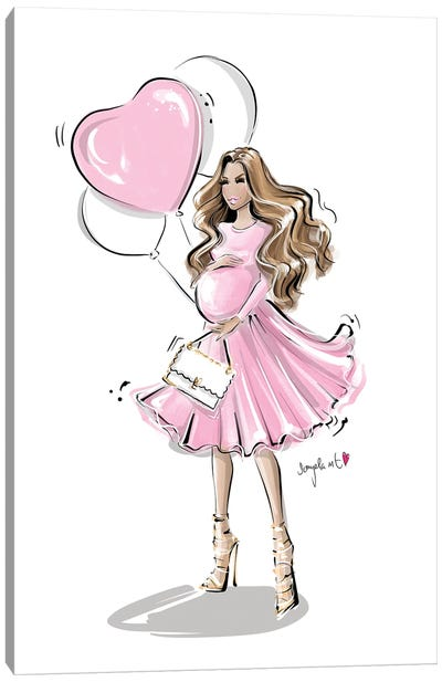 Mom To Be Pink Canvas Art Print