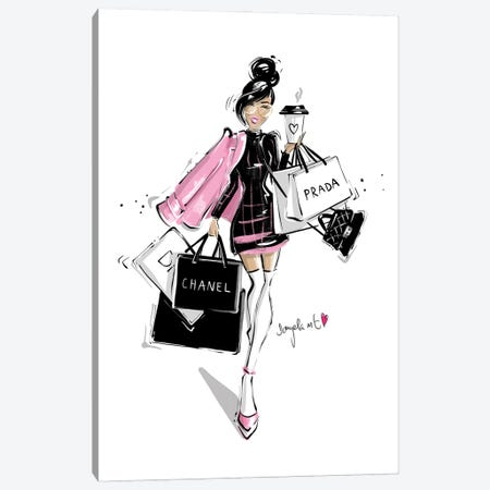 Shopping Girl Canvas Print #DPV36} by Daniela Pavlíková Canvas Art
