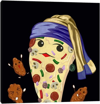 Pizza Girl with an Olive Earring Canvas Print #DPY1