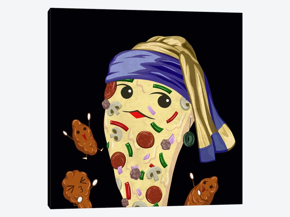 Pizza Girl with an Olive Earring by 5by5collective 1-piece Canvas Wall Art