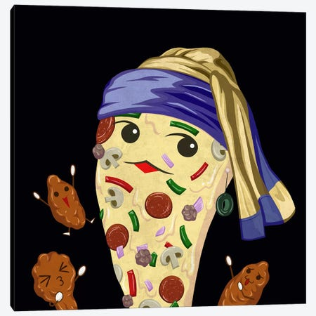 Pizza Girl with an Olive Earring Canvas Print #DPY1} by 5by5collective Canvas Art