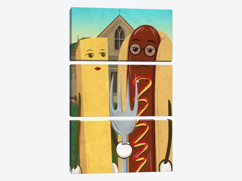 American Gotdog and French Fry by 5by5collective 3-piece Canvas Print