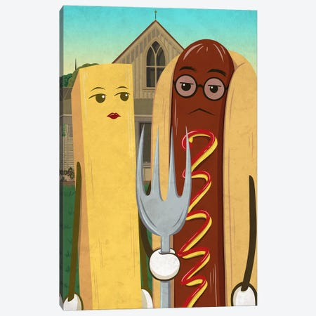American Gotdog and French Fry 3-Piece Canvas #DPY2} by 5by5collective Canvas Wall Art
