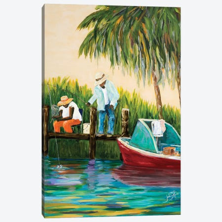 Dock Fishing Canvas Print #DRC101} by Julie Derice Canvas Art