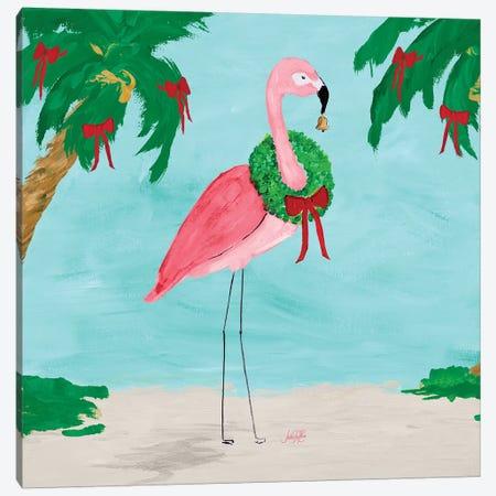 Fa La La La Flamingo Holiday I Canvas Print #DRC103} by Julie Derice Canvas Wall Art
