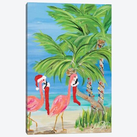 Flamingo Christmas I Canvas Print #DRC105} by Julie Derice Canvas Art Print