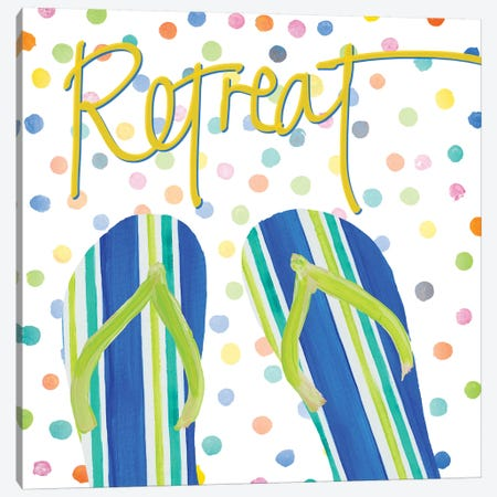 Flip Flop Retreat I Canvas Print #DRC107} by Julie Derice Canvas Art Print