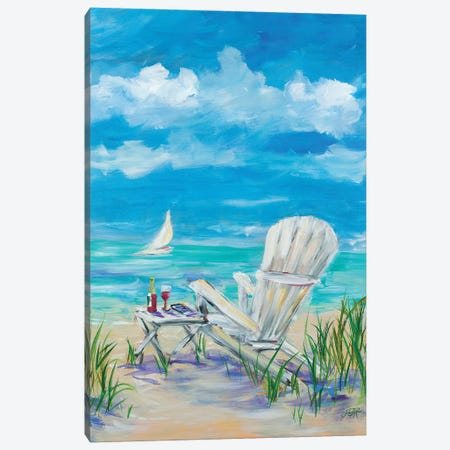 Beach Lounging Canvas Print #DRC10} by Julie Derice Canvas Art Print