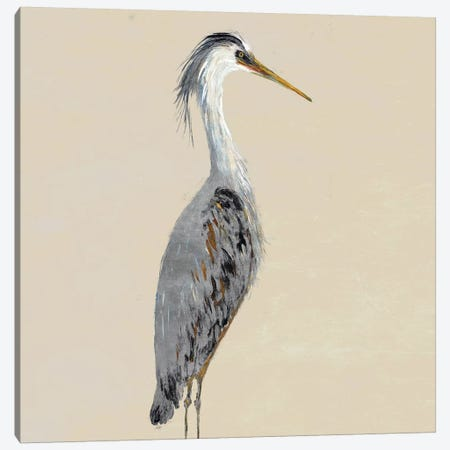 Heron On Tan I Canvas Print #DRC116} by Julie Derice Canvas Wall Art