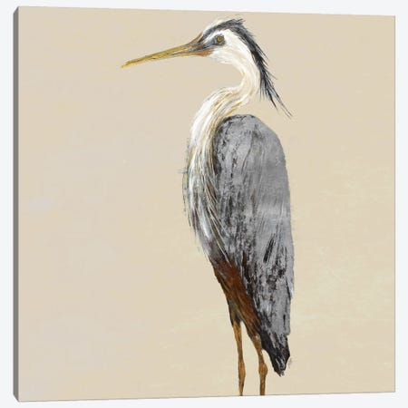 Heron On Tan II Canvas Print #DRC117} by Julie Derice Canvas Wall Art