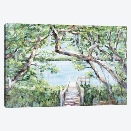 Misty Lake Canvas Print #DRC120} by Julie Derice Canvas Artwork