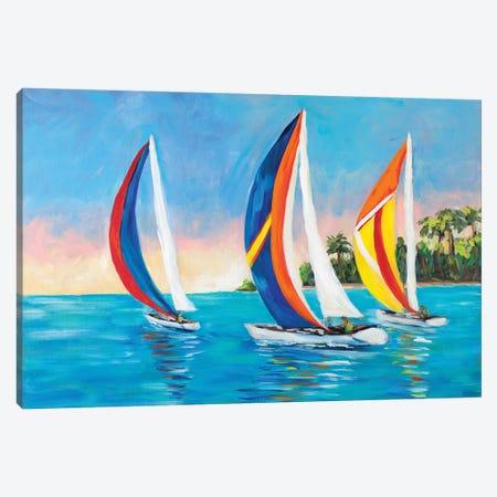 Morning Sails I Canvas Print #DRC125} by Julie Derice Canvas Print