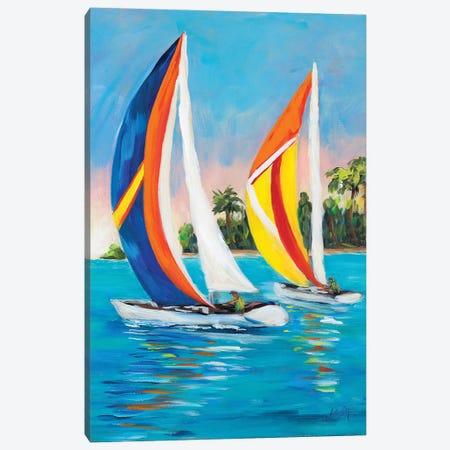 Morning Sails Vertical I Canvas Print #DRC127} by Julie Derice Art Print