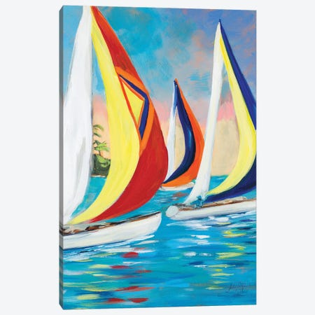 Morning Sails Vertical II Canvas Print #DRC128} by Julie Derice Canvas Artwork
