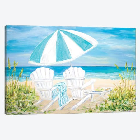 Beach Umbrella Canvas Print #DRC13} by Julie Derice Canvas Print