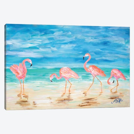Flamingo Beach Canvas Print #DRC14} by Julie Derice Canvas Artwork