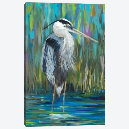 Standing Heron I Canvas Print #DRC160} by Julie Derice Canvas Wall Art