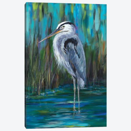 Standing Heron II Canvas Print #DRC161} by Julie Derice Canvas Art
