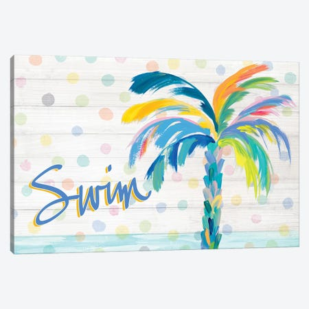 Swim Near The Palm Tree Canvas Print #DRC169} by Julie Derice Canvas Artwork
