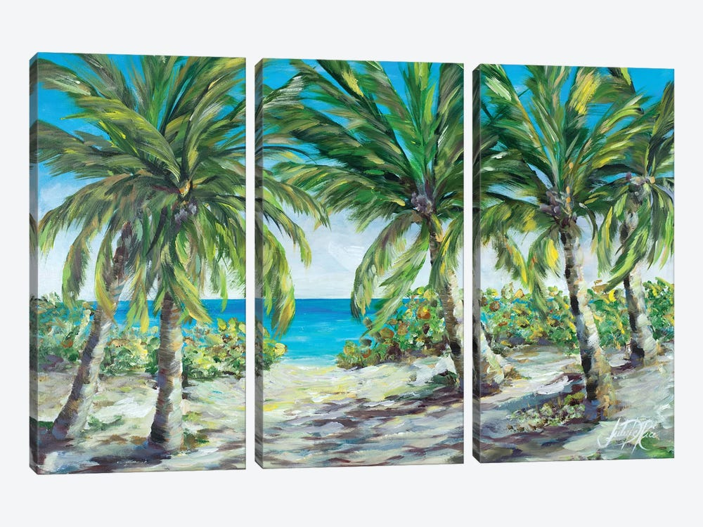 Tropical Palm Tree Paradise by Julie Derice 3-piece Canvas Art