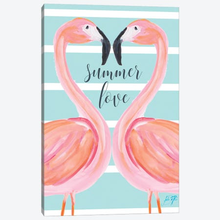 Flamingo Summer Love Canvas Print #DRC17} by Julie Derice Canvas Art