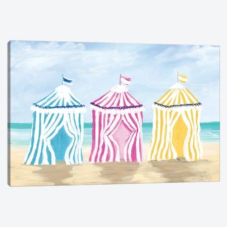 Beach Cabanas Canvas Print #DRC194} by Julie Derice Canvas Artwork