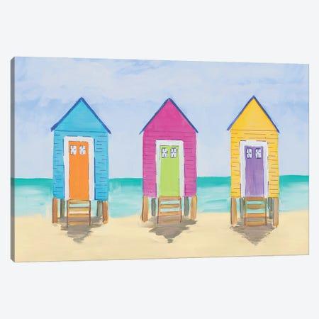 Beach Shacks Canvas Print #DRC196} by Julie Derice Canvas Wall Art