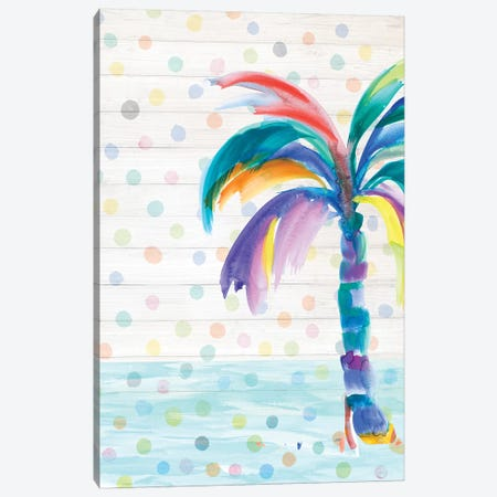 Funky Palm on Dots I Canvas Print #DRC19} by Julie Derice Art Print
