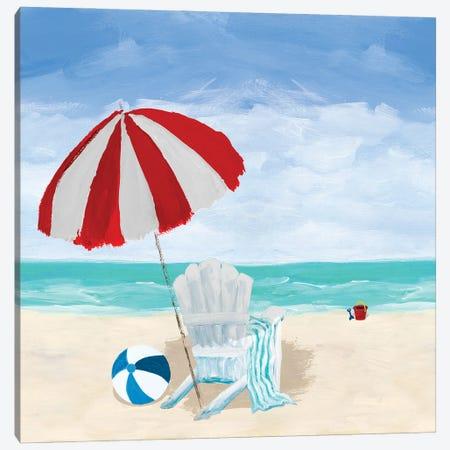 Beach Chair With Umbrella Canvas Print #DRC201} by Julie Derice Canvas Art Print