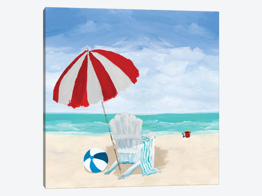 Beach Chair With Umbrella 1-piece Canvas Art