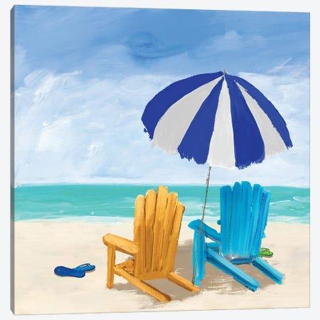 Beach Chairs With Umbrella Canvas Print #DRC202} by Julie Derice Canvas Art Print