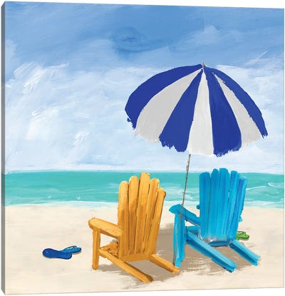 Beach Chairs With Umbrella Canvas Art Print