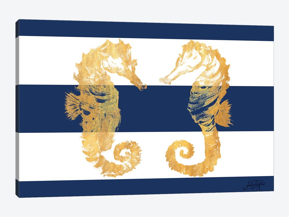 Gold Seahorses On Stripes by Julie Derice 1-piece Art Print