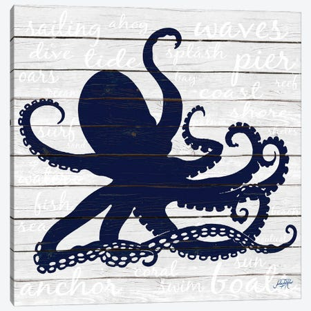 Indigo Octopus Canvas Print #DRC205} by Julie Derice Canvas Art