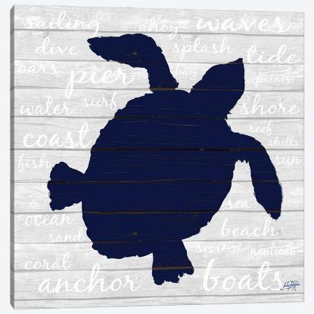 Indigo Turtle Canvas Print #DRC206} by Julie Derice Canvas Art