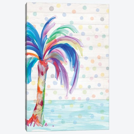 Funky Palm on Dots II Canvas Print #DRC20} by Julie Derice Canvas Artwork