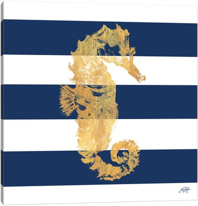 Gold Seahorse on Stripes I Canvas Art Print