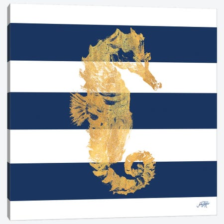 Gold Seahorse on Stripes I Canvas Print #DRC21} by Julie Derice Canvas Art